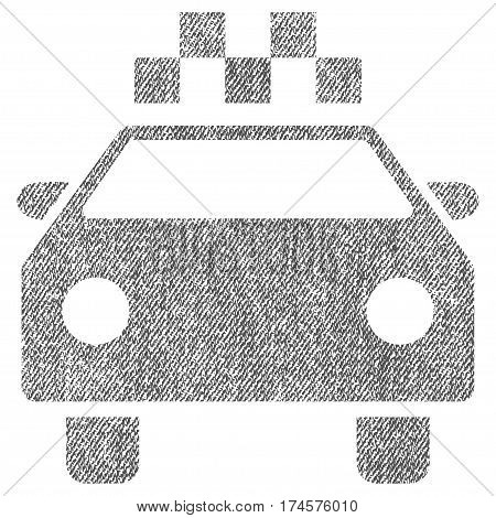 Taxi Automobile vector textured icon for overlay watermark stamps. Fabric gray vectorized texture. Symbol with dirty design. Rubber seal stamp with fiber textile structure.