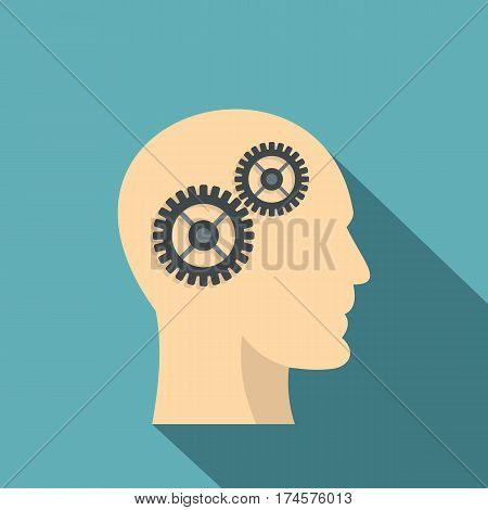 Profile of the head with gears inside icon. Flat illustration of profile of the head with gears inside vector icon for web isolated on baby blue background