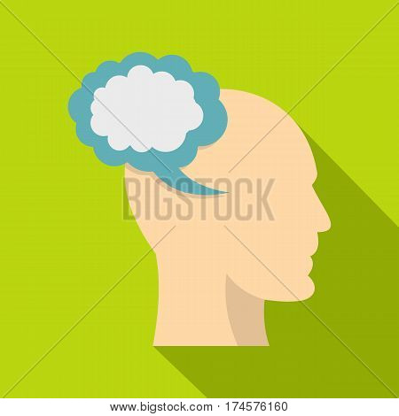 Profile of the head with cloud inside icon. Flat illustration of profile of the head with cloud inside vector icon for web isolated on lime background