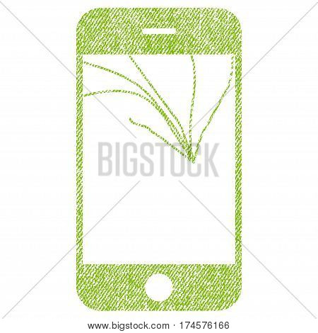 Broken Smartphone Screen vector textured icon for overlay watermark stamps. Fabric light green vectorized texture. Symbol with unclean design. Rubber seal stamp with fiber textile structure.