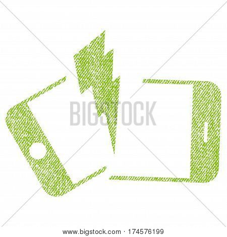 Broken Smartphone vector textured icon for overlay watermark stamps. Fabric light green vectorized texture. Symbol with dust design. Rubber seal stamp with fiber textile structure.