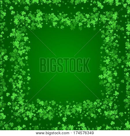 Square Saint Patricks Day background with green clover confetti. Embedded frames of shamrock leaves. Template for greeting card design, banner, flyer, party invitation.