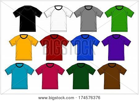 design Template T shirt Raglan colorful, Vector