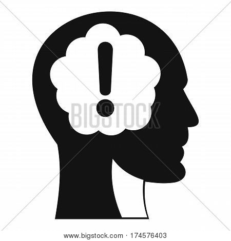 Head with exclamation mark inside icon. Simple illustration of head with exclamation mark inside vector icon for web