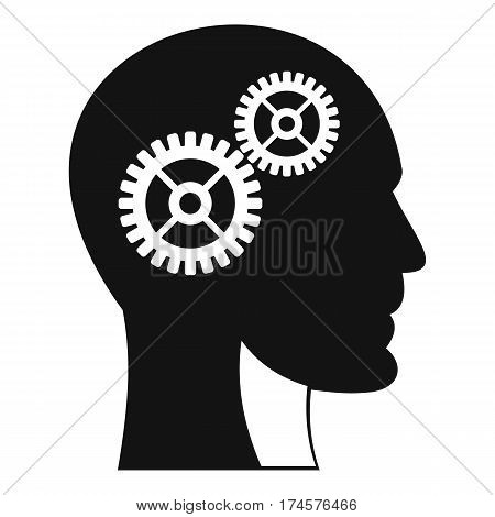 Gears in human head icon. Simple illustration of gears in human head vector icon for web