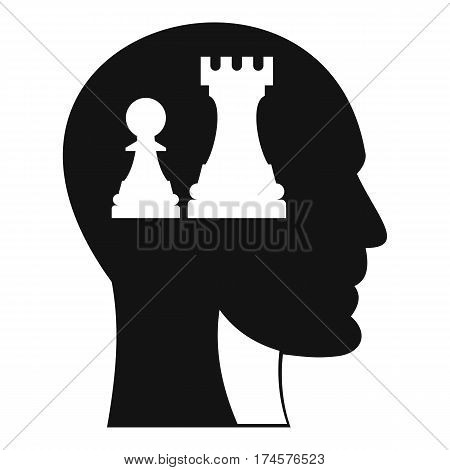 Head with queen and pawn chess icon. Simple illustration of head with queen and pawn chess vector icon for web