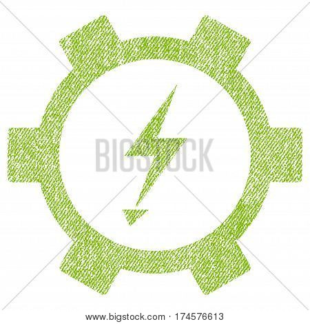 Electric Energy Gear Wheel vector textured icon for overlay watermark stamps. Fabric light green vectorized texture. Symbol with dirty design. Rubber seal stamp with fiber textile structure.