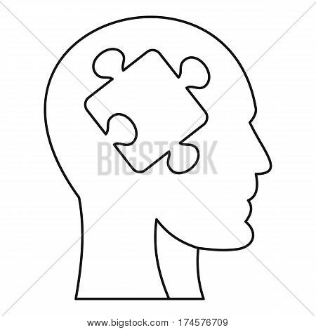 Man head silhouette with puzzle piece icon. Outline illustration of man head silhouette with puzzle piece vector icon for web