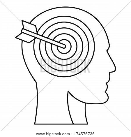 Human head profile with target inside icon. Outline illustration of human head profile with target inside vector icon for web
