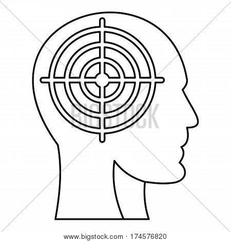 Head with crosshair icon. Outline illustration of head with crosshair vector icon for web