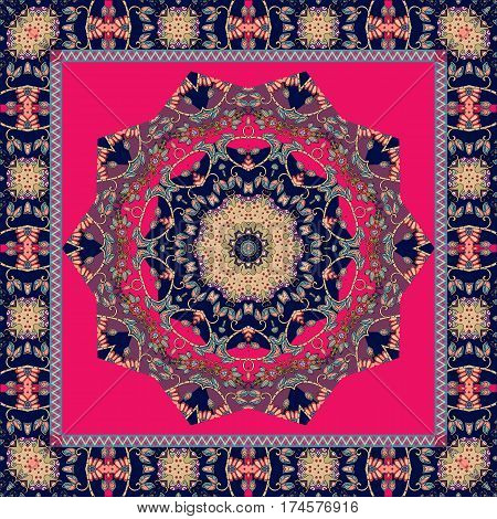 Beautiful scarf with mandala in indian style. Vector template.