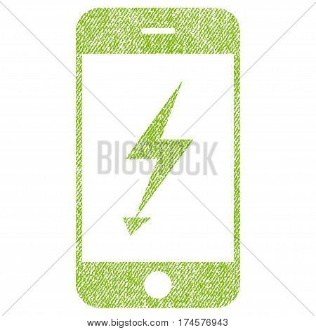 Electric Mobile Phone vector textured icon for overlay watermark stamps. Fabric light green vectorized texture. Symbol with dirty design. Rubber seal stamp with fiber textile structure.