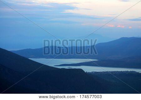 Lake Orestiada in the Kastoria Prefecture of Macedonia, northwestern Greece in the morning
