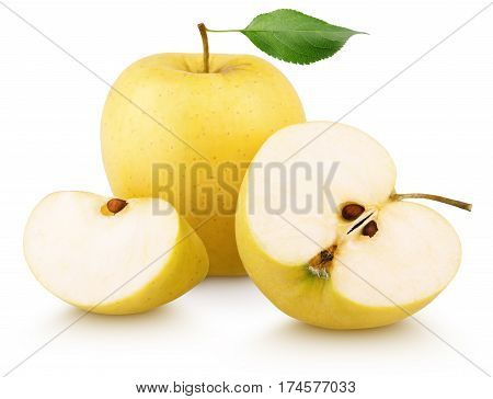 Ripe yellow apple fruit green leaf slice and half with slices isolated on white background