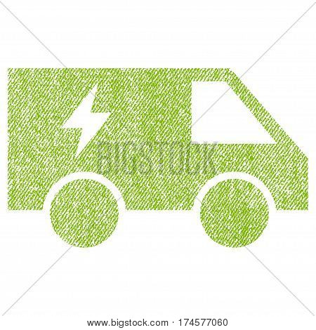 Electric Power Car vector textured icon for overlay watermark stamps. Fabric light green vectorized texture. Symbol with scratched design. Rubber seal stamp with fiber textile structure.