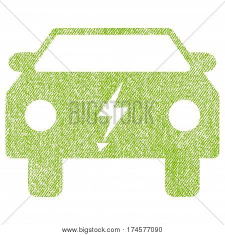 Electric Power Car vector textured icon for overlay watermark stamps. Fabric light green vectorized texture. Symbol with unclean design. Rubber seal stamp with fiber textile structure.