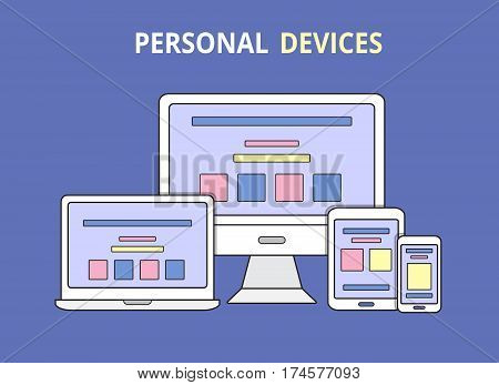 Modern electronic devices. Flat line style illustration of laptop, pc, tablet and phone. Vector icon for websites and mobile minimalistic design. Popular gadgets.