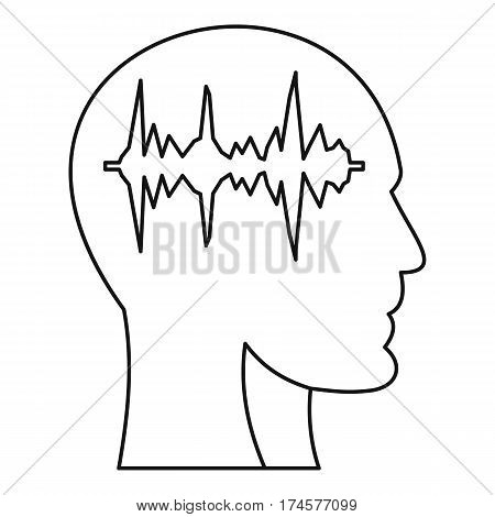 Equalizer inside human head icon. Outline illustration of equalizer inside human head i vector icon for web