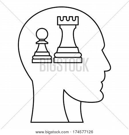Chess inside human head icon. Outline illustration of chess inside human head vector icon for web