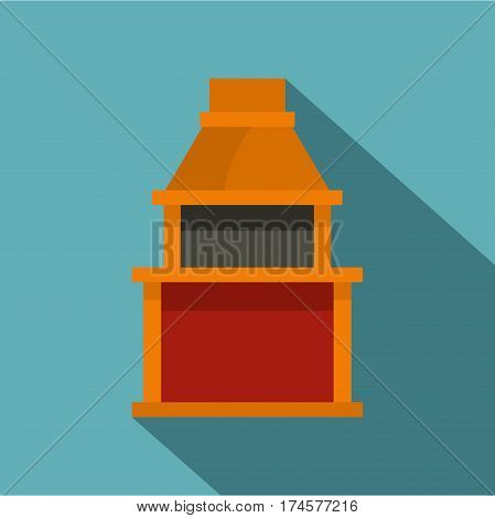 Barbecue gas grill icon. Flat illustration of barbecue gas grill vector icon for web isolated on baby blue background