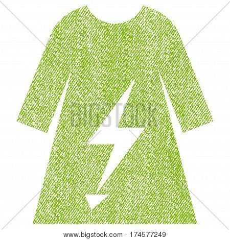 Electric Power Lady Dress vector textured icon for overlay watermark stamps. Fabric light green vectorized texture. Symbol with dust design. Rubber seal stamp with fiber textile structure.