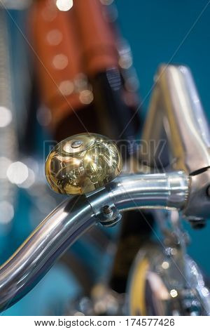 Bicycle handlebar and old type bell background photo