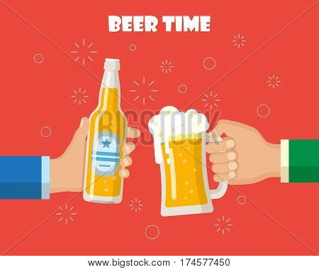 Beer party. Hands holding beer glass and beer bottle. Concept of cheering people party celebration. Isolated vector illustration flat design.