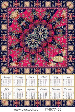 Calendar 2018. Vintage decorative elements. Ornamental floral background. Indian motifs. Oriental double mandala pattern Vector illustration. Week starts on sunday.