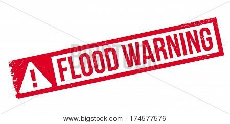 Flood Warning rubber stamp. Grunge design with dust scratches. Effects can be easily removed for a clean, crisp look. Color is easily changed.