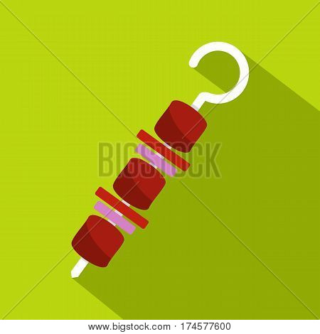 Barbecue kebab on skewer icon. Flat illustration of barbecue kebab on skewer vector icon for web isolated on lime background