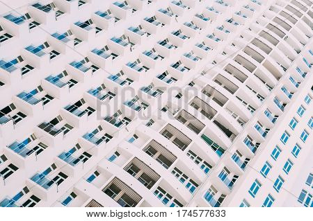 Wall With A Balcony Of New Modern Multi-storey Residential Building House In Residential Area