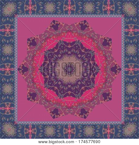 Silk scarf with mandala in indian style.