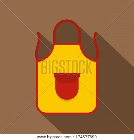 Yellow apron with red pocket icon. Flat illustration of yellow apron with red pocket vector icon for web isolated on coffee background