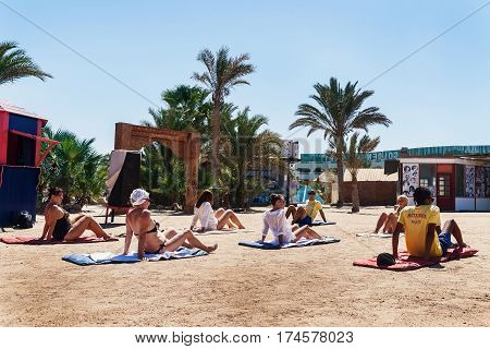 Hurghada, Egypt - October 9, 2016 . Tourists On The Animation Yoga Hotel Golden 5