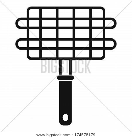 Stainless barbecue grill camping basket icon. Simple illustration of stainless barbecue grill camping basket vector icon for web