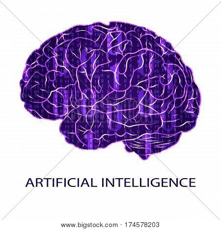 Artificial intellegence VECTOR symbol isolated on white