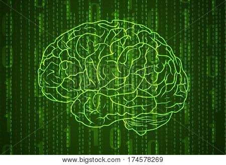 Background with numbers and brain. Abstract green VECTOR background.
