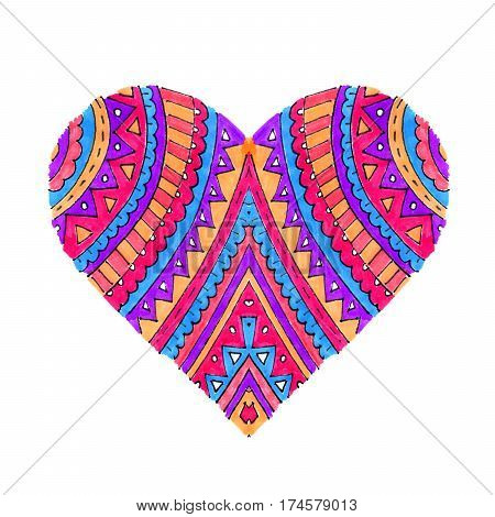Bright heart with abstract pattern on white background hand drawn
