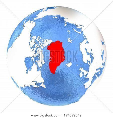 Greenland On Globe Isolated On White