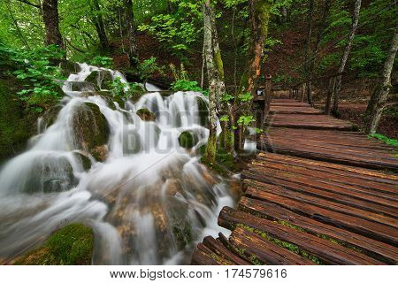 Cascades near the tourist path in Plitvice lakes national park - Croatia