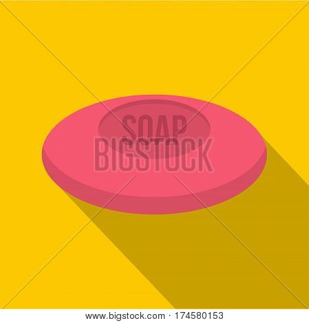 Pink soap icon. Flat illustration of pink soap vector icon for web isolated on yellow background