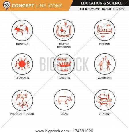 Anthropology and cave painting theme black line icons in white isolated background used for school and university education, create by vector