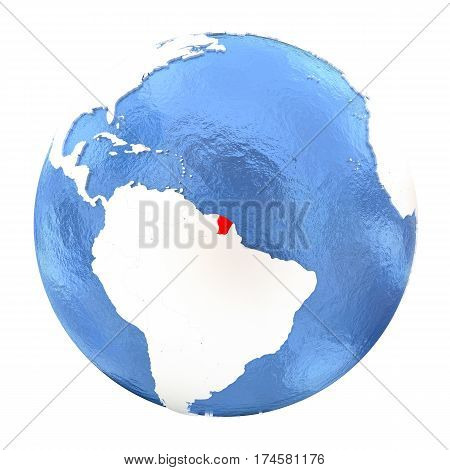 French Guiana On Globe Isolated On White