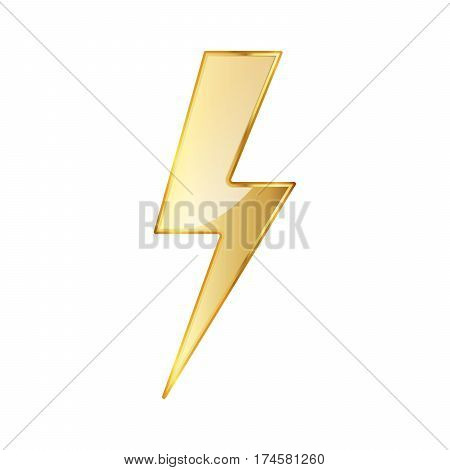 Lightning icon. Vector illustration. Golden lightning icon isolated on white background.