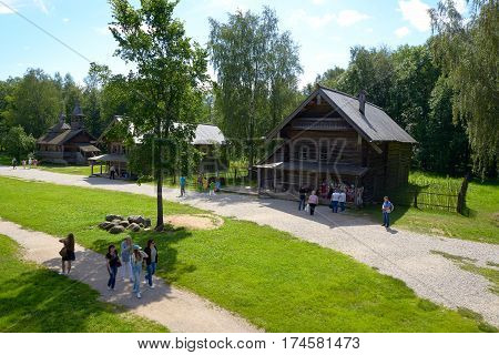 Velikiy Novgorod Russia - July 17 2016: Open air Museum of Wooden Architecture of the 16th-19th centuries Vitoslavlitsy in Novgorod in Russia.