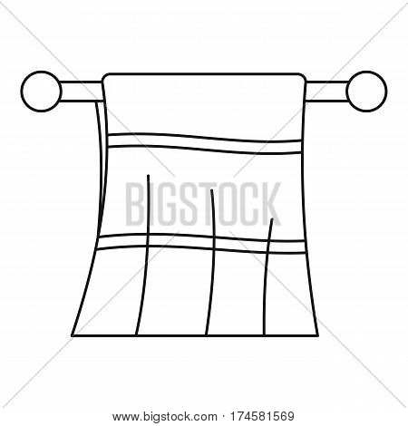 Clean towel on a hanger icon. Outline illustration of clean towel on a hanger vector icon for web