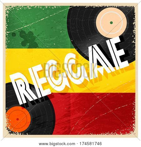 Vintage poster reggae. Rastaman color poster with the word reggae and record music. Abstract vector illustration of a music style reggae. Stock vector