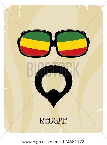 Abstract Rastaman man's face with a beard and glasses. Icon reggae musical style. Musical poster. Stock vector