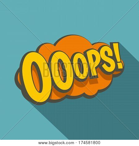 OOOPS, comic text speech bubble icon. Flat illustration of OOOPS, comic text speech bubble vector icon for web isolated on baby blue background