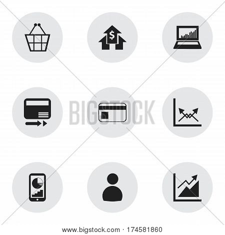 Set Of 9 Editable Statistic Icons. Includes Symbols Such As Bank Payment, Progress, Pay Redeem And More. Can Be Used For Web, Mobile, UI And Infographic Design.